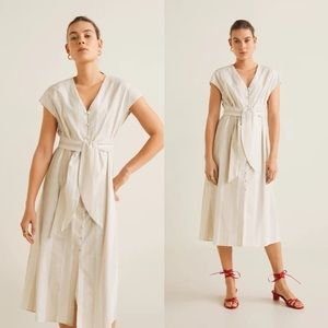 Mango • NWT Striped Midi Dress
